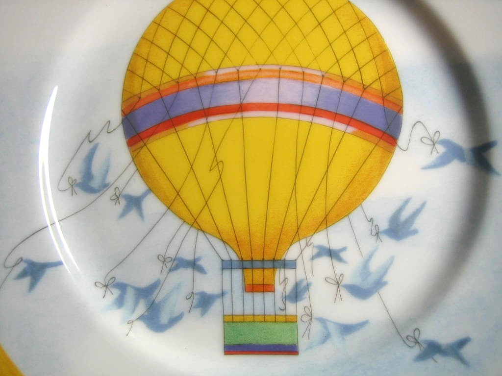 Whimsical Yellow Hot Air Balloon Blue Birds Sky Gold Edge Plate Japan Center www.DecorativeDishes.net