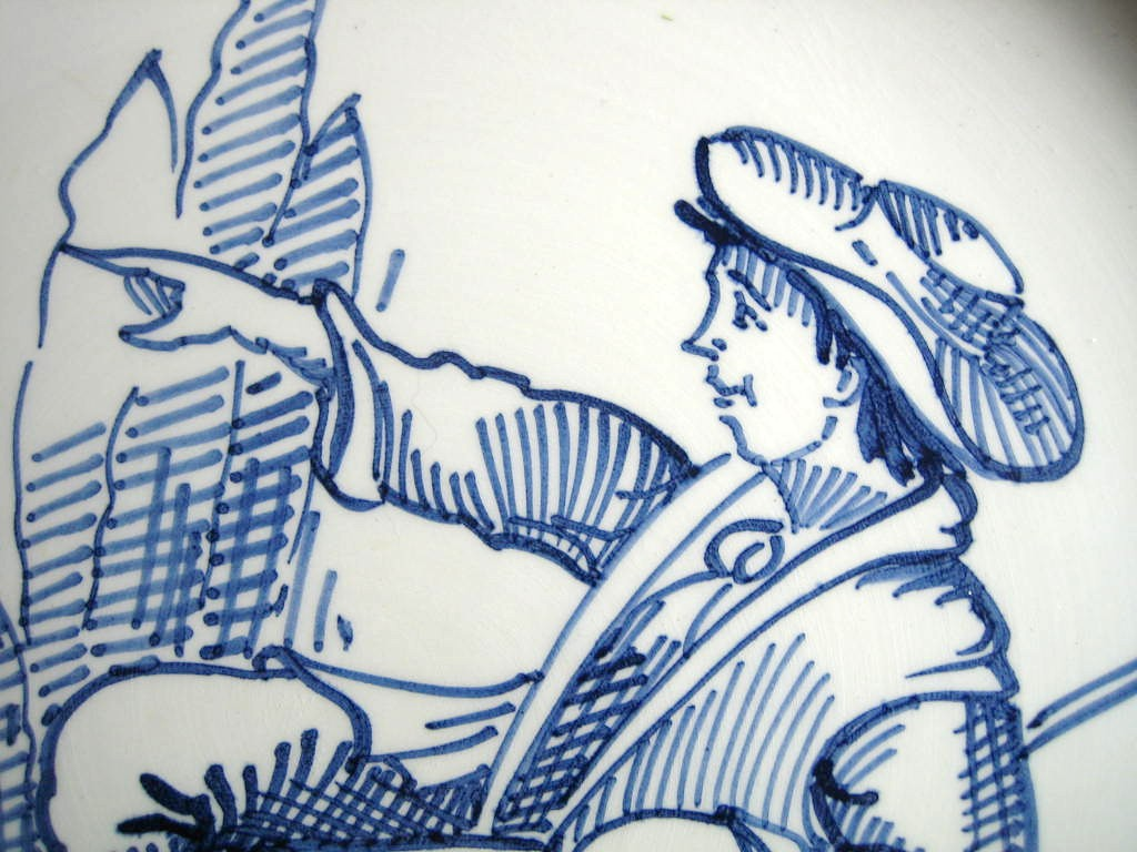 Blue Hand Drawn Shepherd Made in Italy Plate Ethan Allen