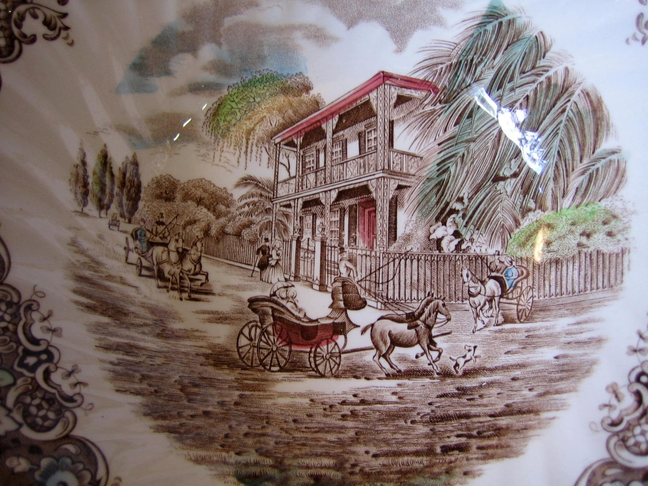 Brown Toile New Orleans French Provincial Mansion Horse Dog Carriage Large Bowl Center www.DecorativeDishes.net
