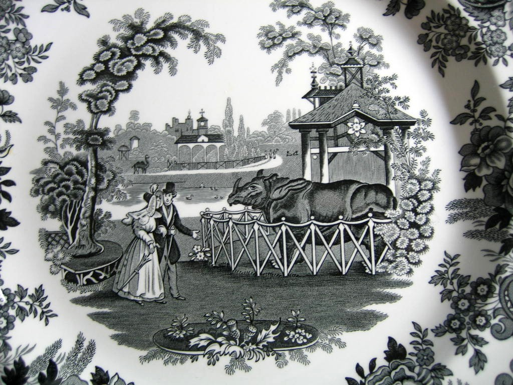 Black White Transferware Toile Victorian Zoo Rhino Plate Center www.DecorativeDishes.net