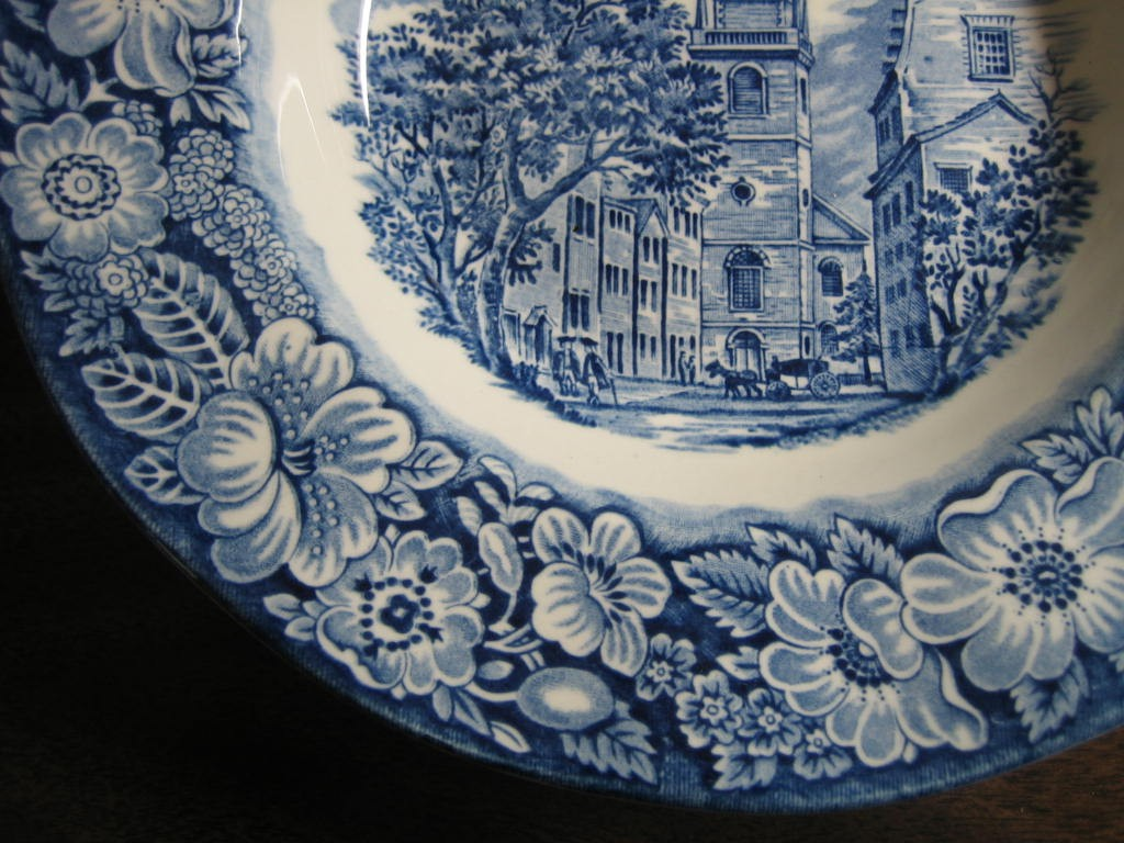 Cobalt Blue Toile Transferware 3-D Colonial Flat Bowl Edge www.DecorativeDishes.net