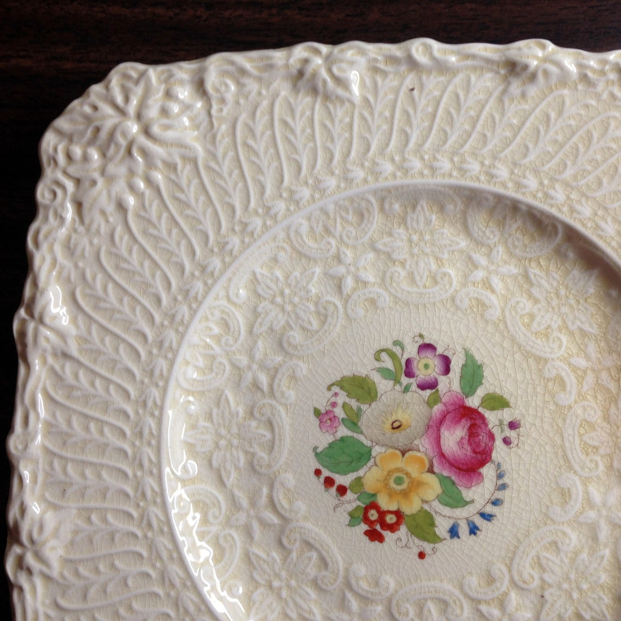 Textured Leaf Scroll Pink Rose OLD Square Plate England Edge www.DecorativeDishes.net
