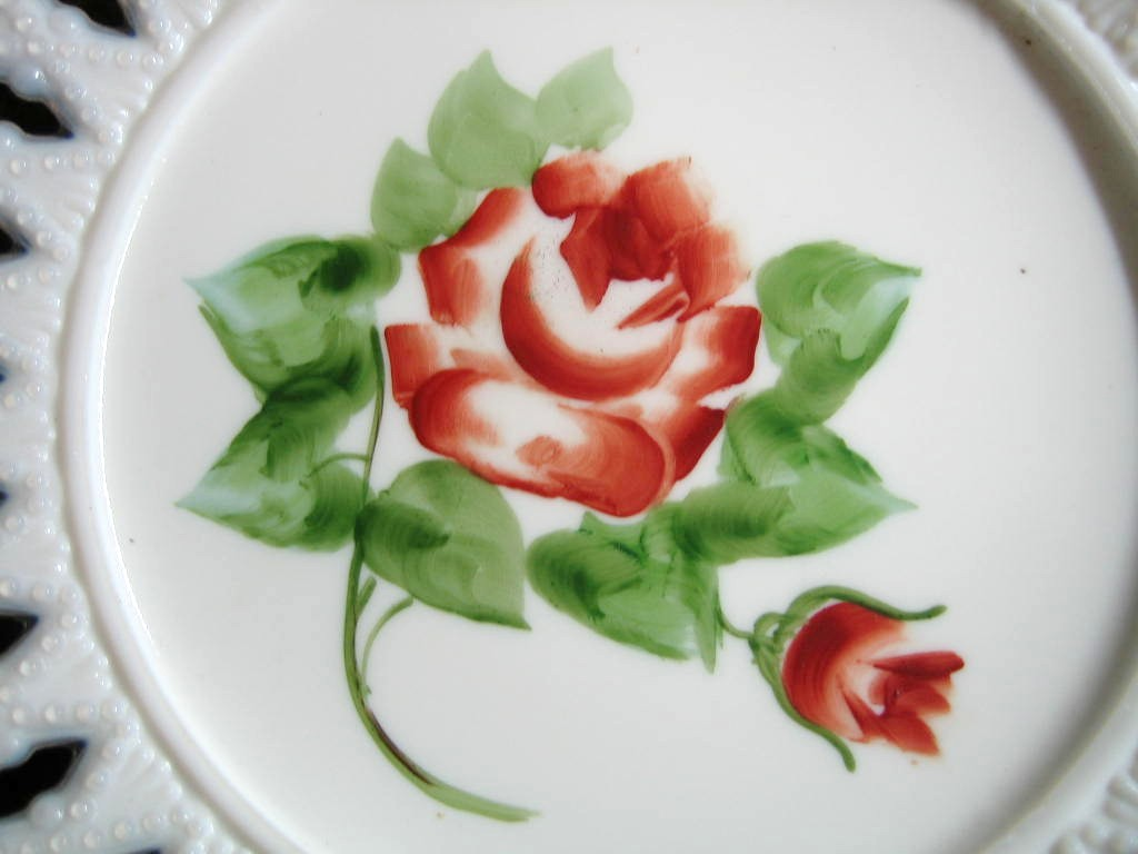 Antique Sweet Milk Glass Hand Painted Roses Lace Edge Pierced Plate  Center www.DecorativeDishes.net