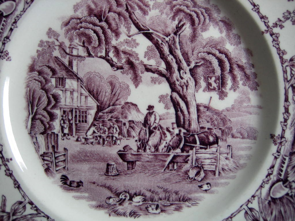 Purple Toile Transferware Inn Horses Chickens Plate M Center www.DecorativeDishes.net