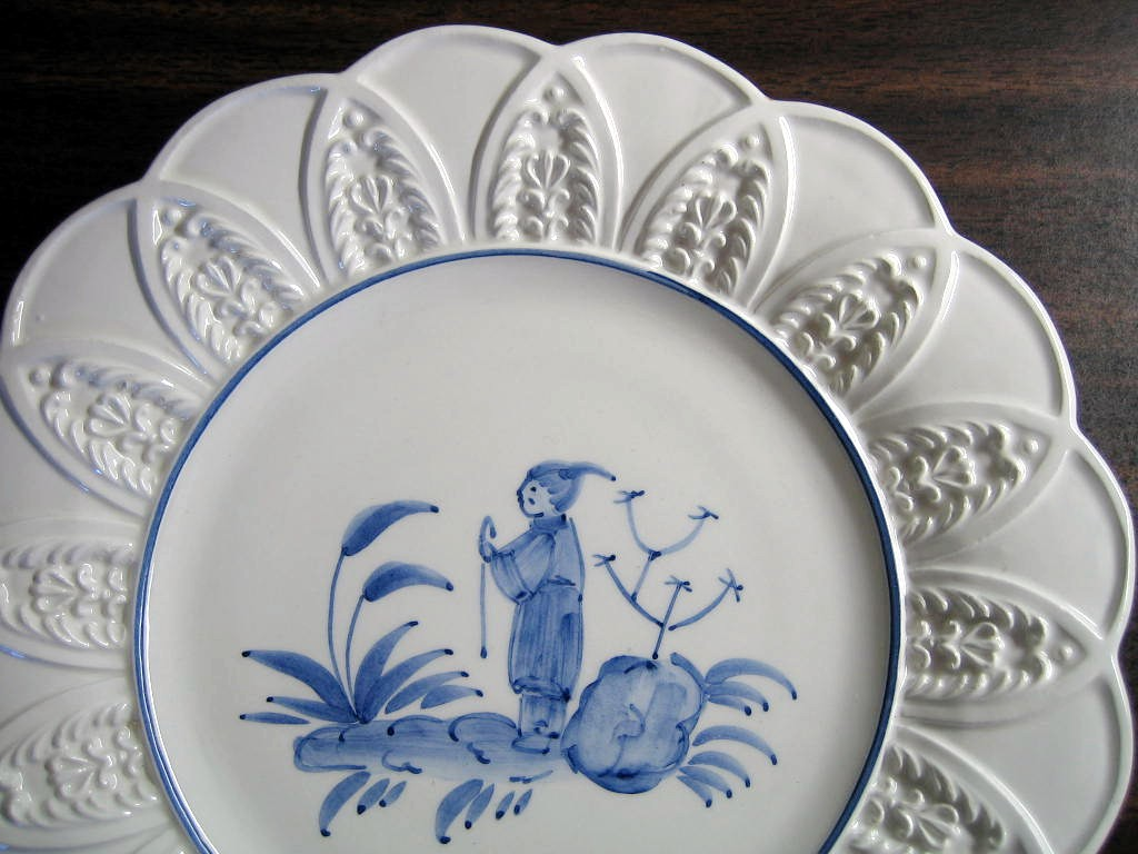 Blue on Bright White Asian Boy Standing Textured Leaf Edge Italy Plate Edge www.DecorativeDishes.net