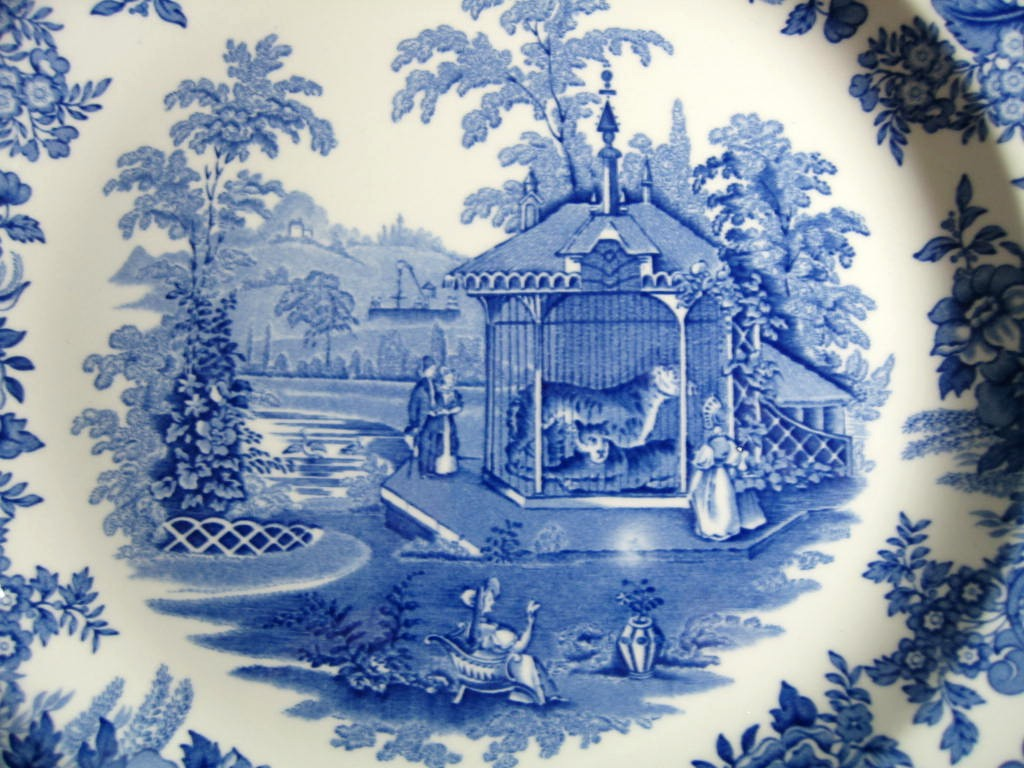 Blue White Transferware Toile Victorian Zoo Tiger Plate Center www.DecorativeDishes.net