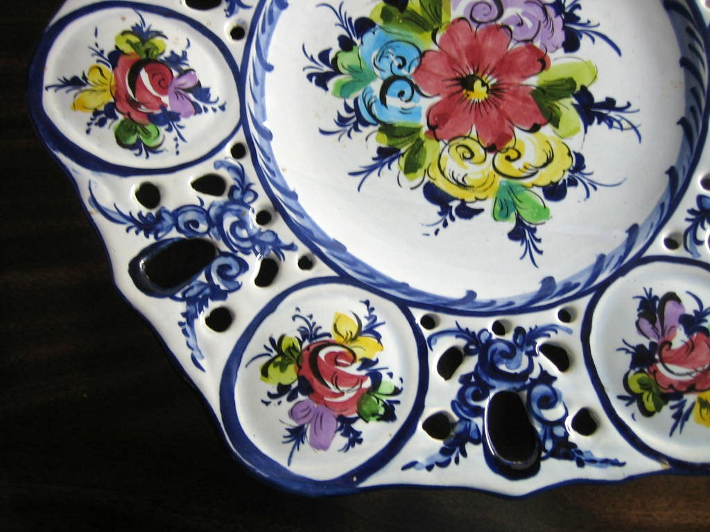 Huge Cobalt Blue on Light Blue Hand Painted Pierced Display Plate Edge www.DecorativeDishes.net