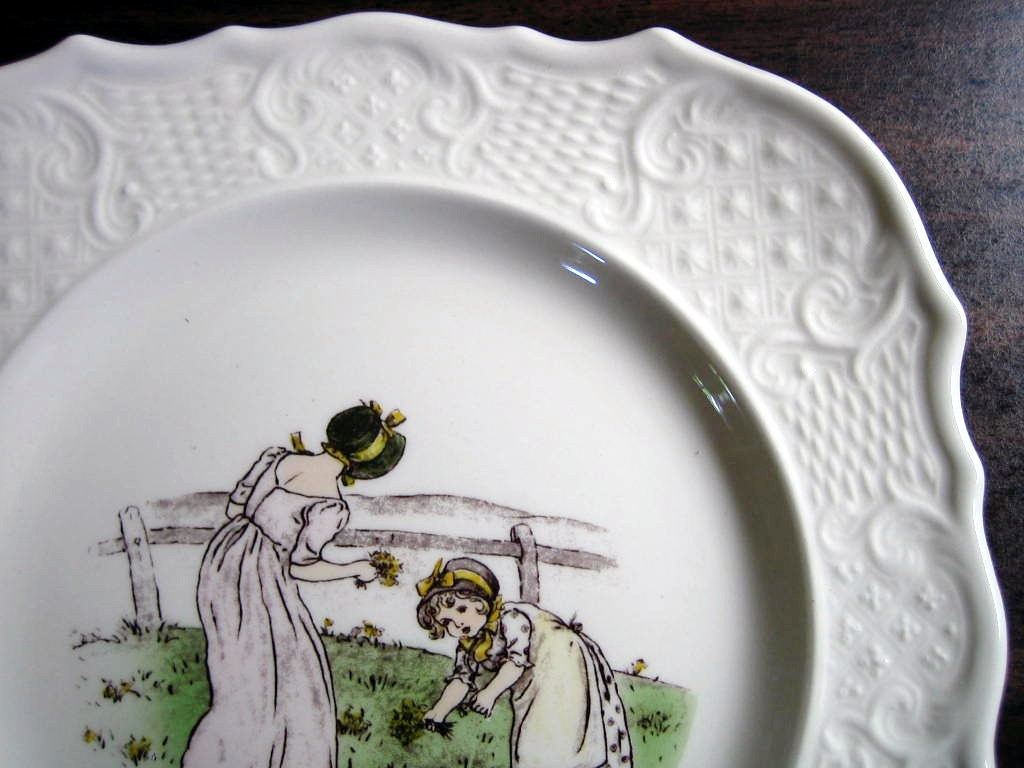 Vintage USA Flower Girls Kate Greenaway Square Scroll Edge Plate Edge www.DecorativeDishes.net