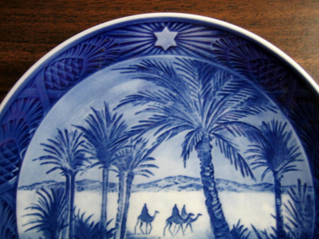 1972 Cobalt Blue Wise Men Camels Palms Star Pinecone Plate Center www.DecorativeDishes.net