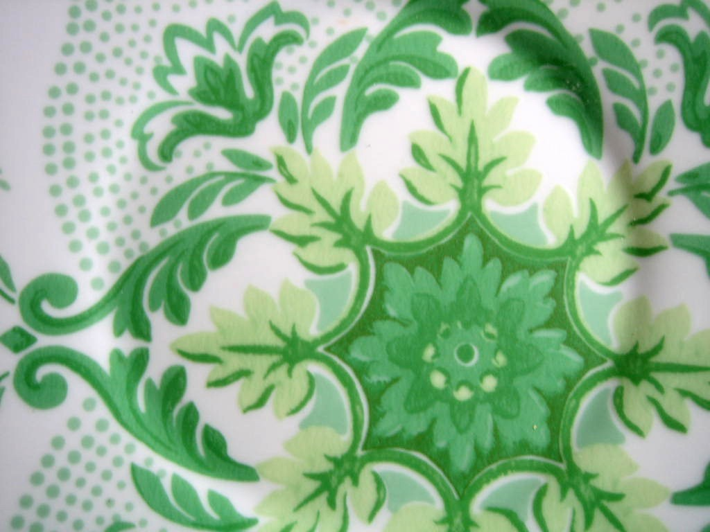 Spring Green on White Boho Chic Floral Great Shaped Rosanna Plate 4 Center www.DecorativeDishes.net
