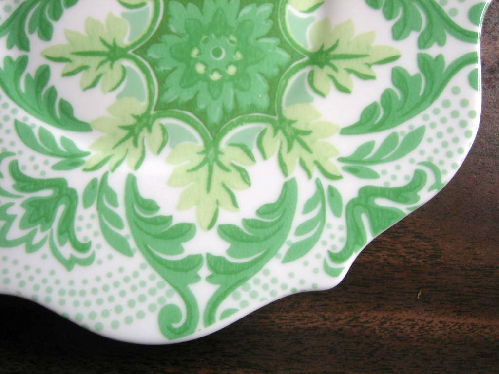 Spring Green on White Boho Chic Floral Great Shaped Rosanna Plate 4