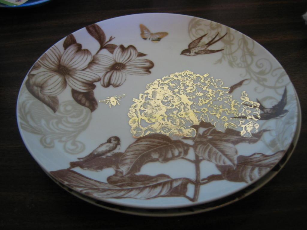 Sepia Brown Tan Botanical Birds Bee Blossom Shiny Gold Plate Edge www.DecorativeDishes.net