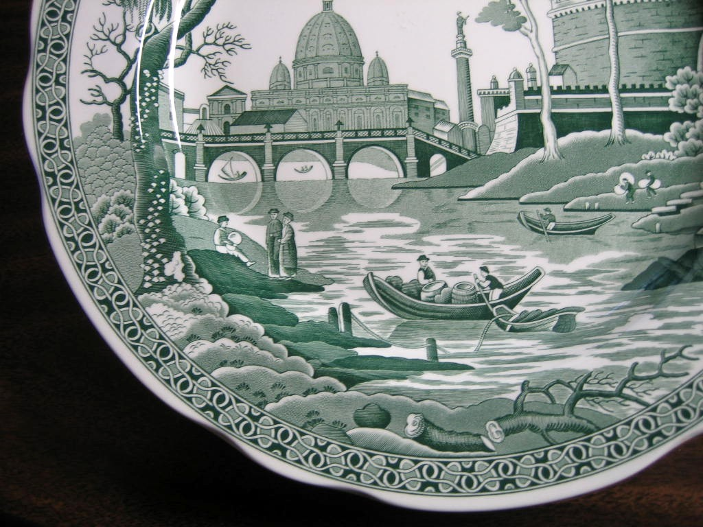 Hunter Green Toile Transferware Exotic Palm River Temple Plate Edge www.DecorativeDishes.net
