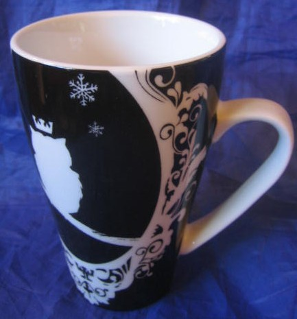 White on Black Silhouette Cameo Owl King Bird Magical Mug Center www.DecorativeDishes.net