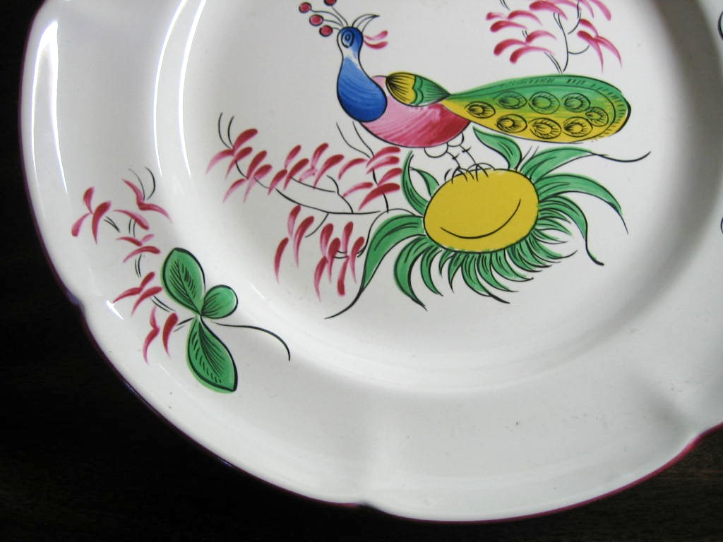 French Folk Art Peacock Scalloped Edge Pink Green Plate Edge www.DecorativeDishes.net