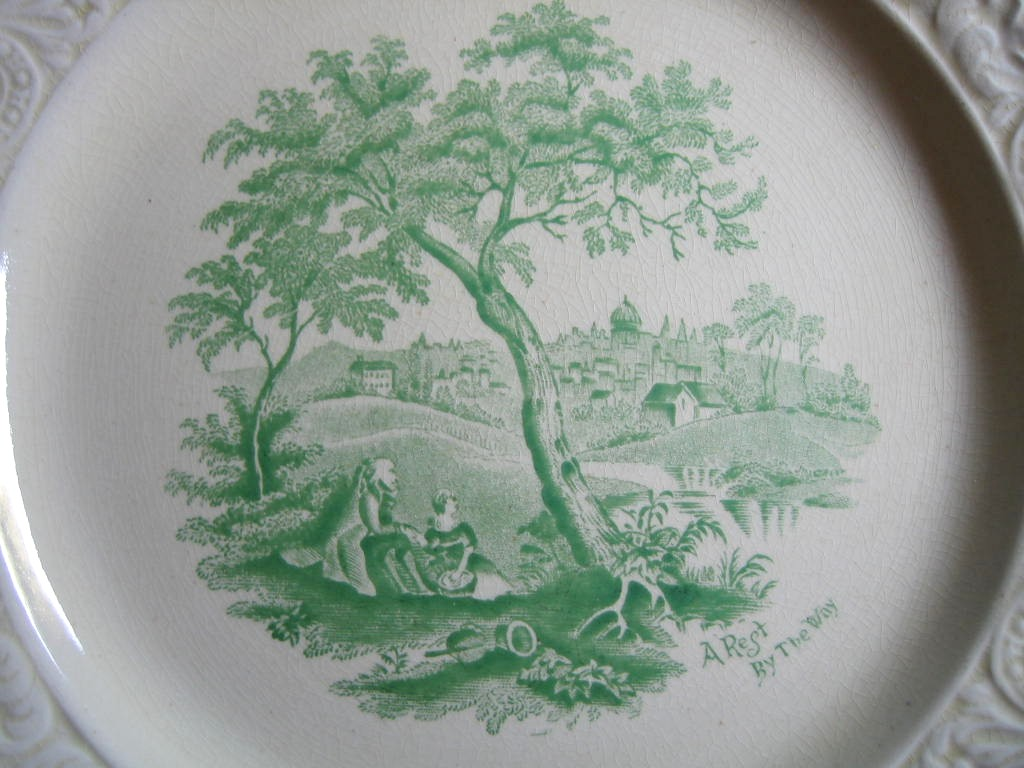 Shabby Green Cream Antique Toile Picnic Textured Edge Plate L Center www.DecorativeDishes.net