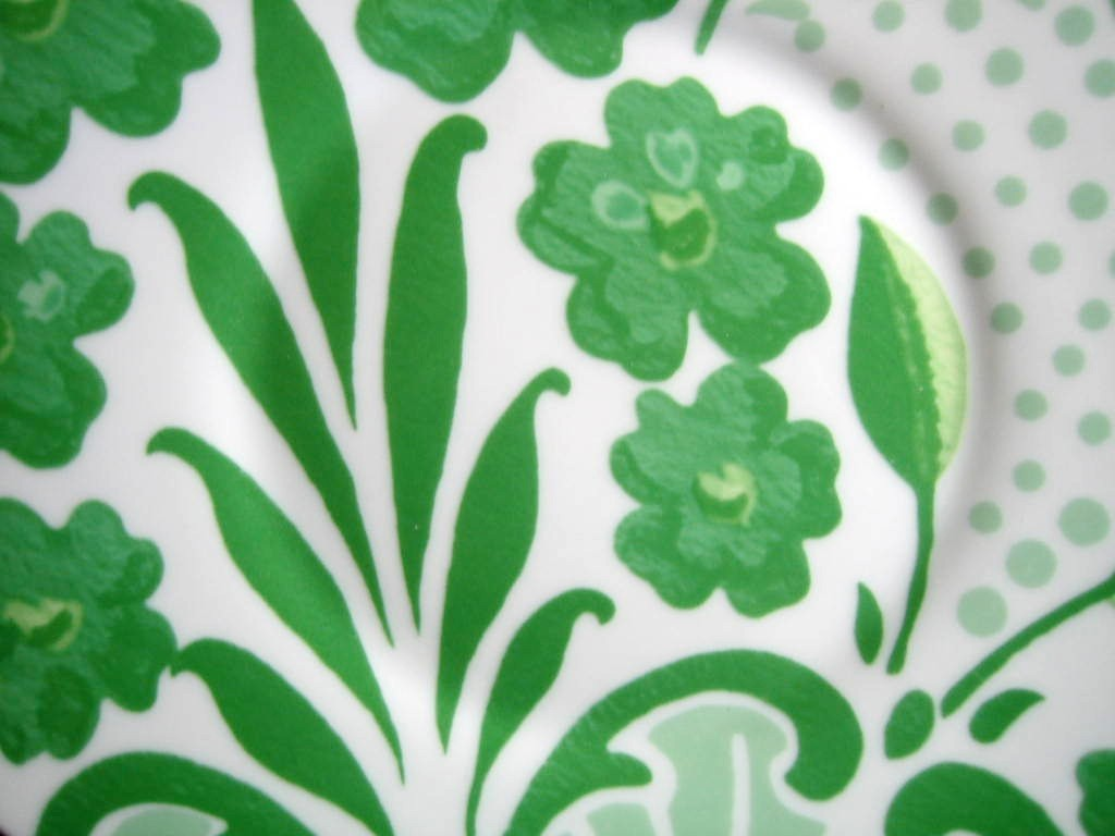 Spring Green on White Boho Chic Floral Great Shaped Rosanna Plate 3 Center www.DecorativeDishes.net