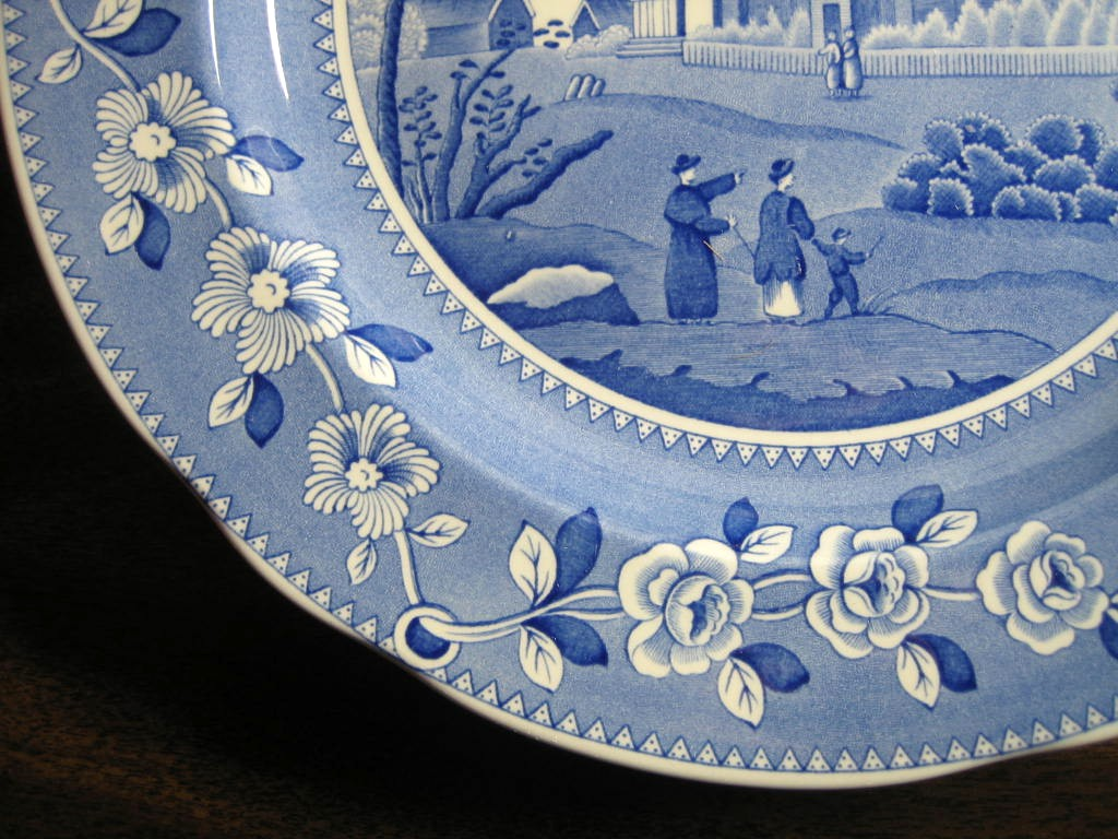 Blue White Transferware Couple Child Domed Church Plate Edge www.DecorativeDishes.net