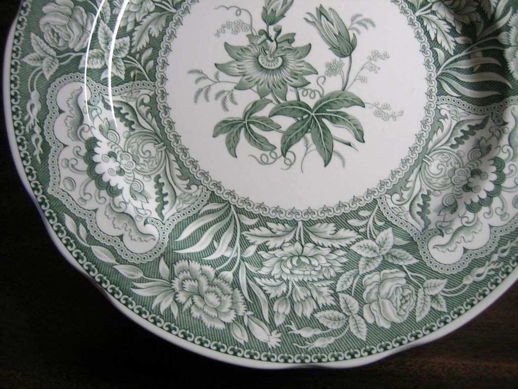 Hunter Green Toile Transferware Exotic Floral Plate Edge www.DecorativeDishes.net