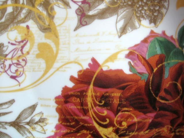 Rust Red Berries Green Tan Leaves Gold Script Botanical Plate Center www.DecorativeDishes.net