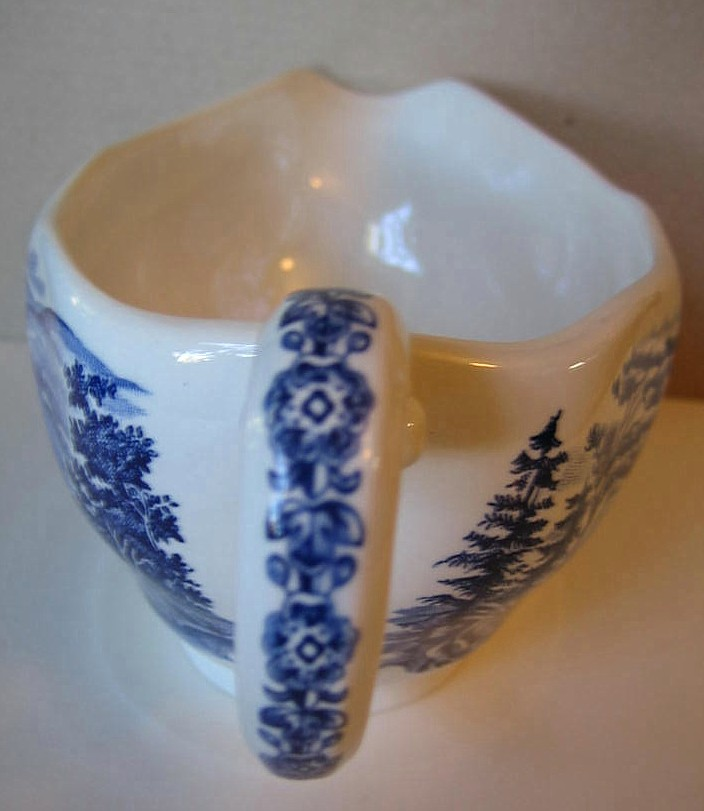 Cobalt Blue Toile Transferware Colonial Harbor Long Pitcher Edge www.DecorativeDishes.net