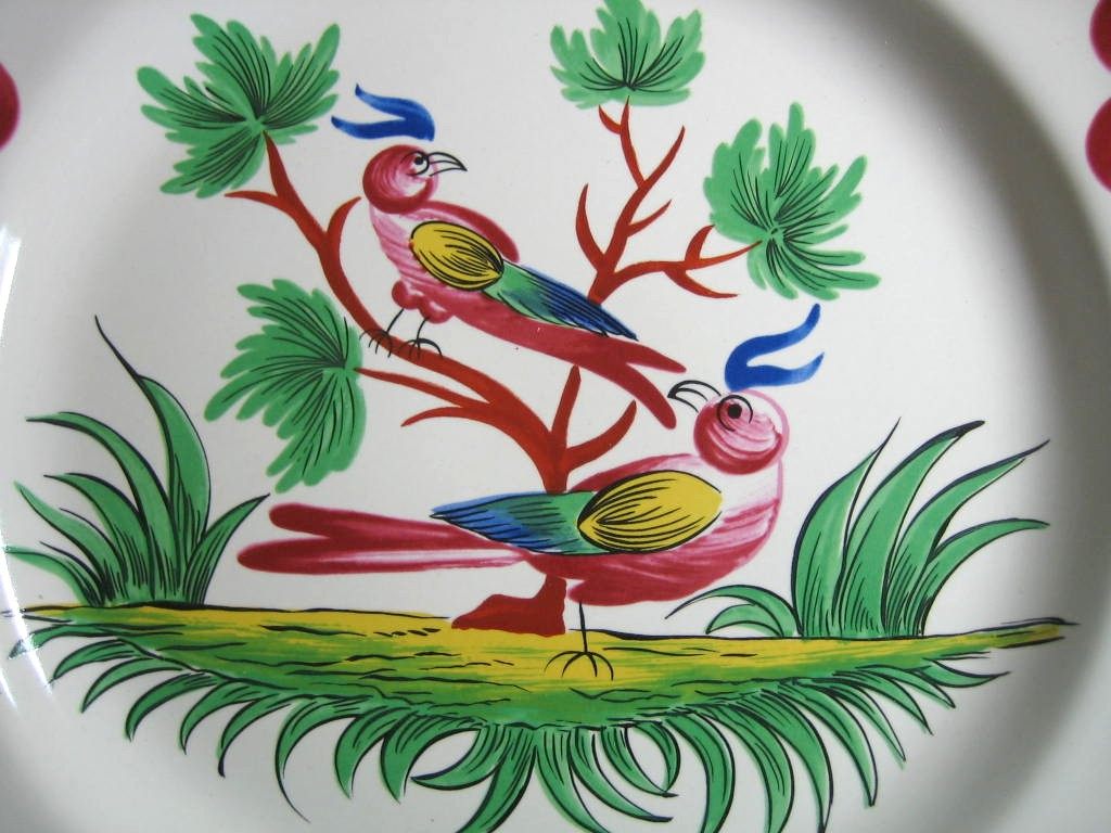 French Folk Art 2 Birds Cherries Leaves Pink Green Plate  Center www.DecorativeDishes.net
