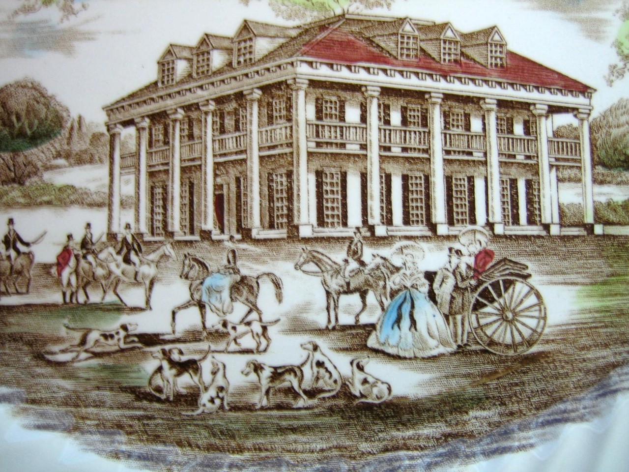Brown Toile Southern Belle Spanish Moss Mansion Dogs Horse Large Platter  Center www.DecorativeDishes.net