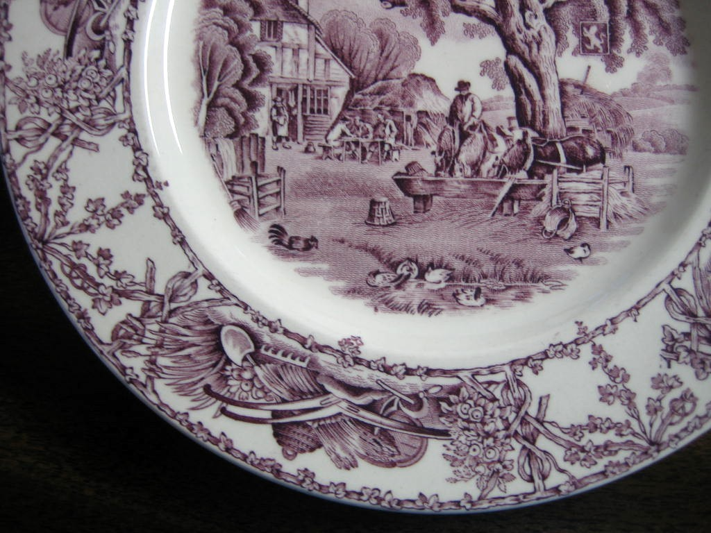 Purple Toile Transferware Inn Horses Chickens Plate M Edge www.DecorativeDishes.net