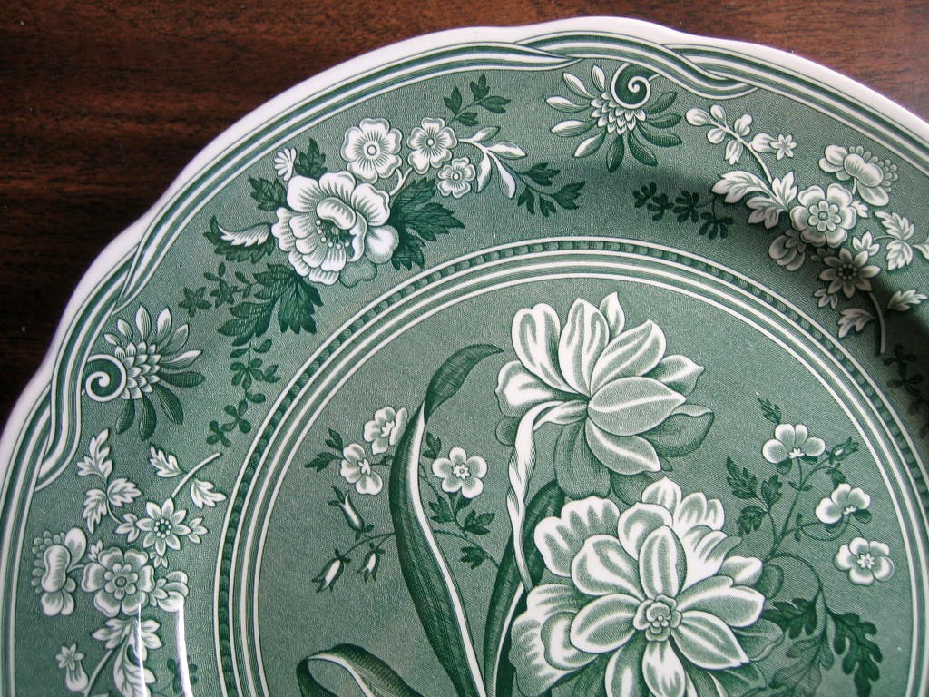 Hunter Green Toile Transferware Daffodil Exotic Plate Edge www.DecorativeDishes.net