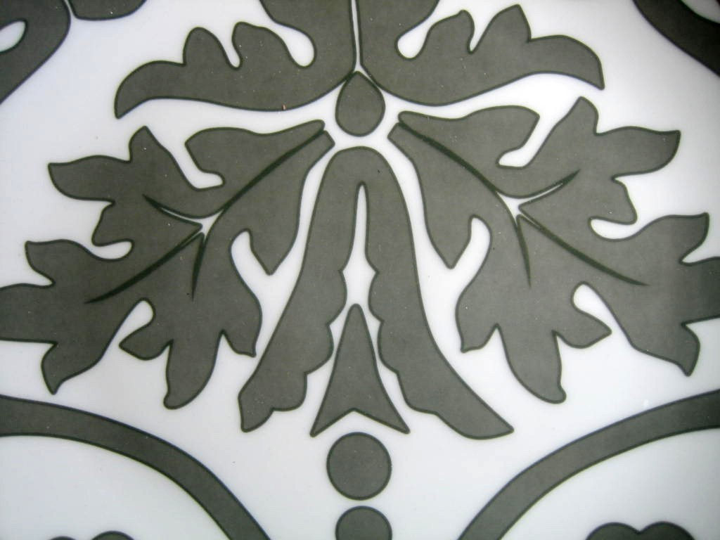 Gray on White Damask Exotic Wallpaper Scroll Decorative Plate B Center www.DecorativeDishes.net