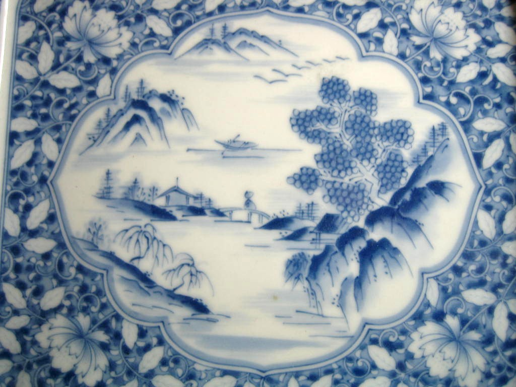 Blue White Chinoiserie Pictoral Detail Rectangle Tray Bowl Center www.DecorativeDishes.net