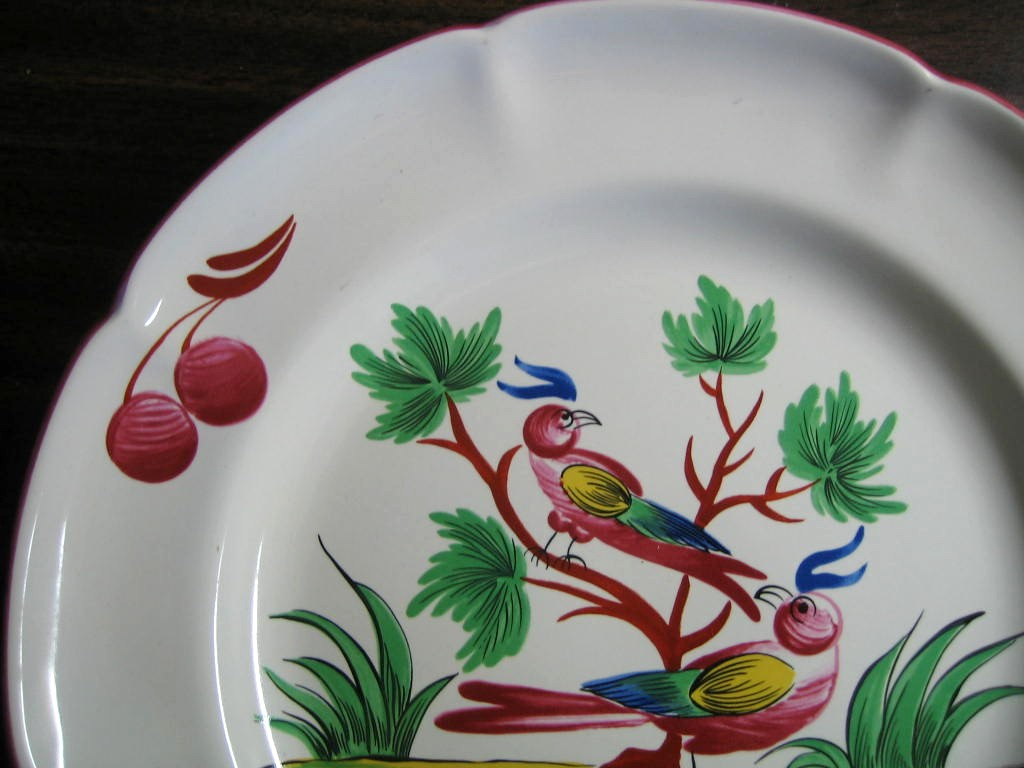 French Folk Art 2 Birds Cherries Leaves Pink Green Plate  Edge www.DecorativeDishes.net