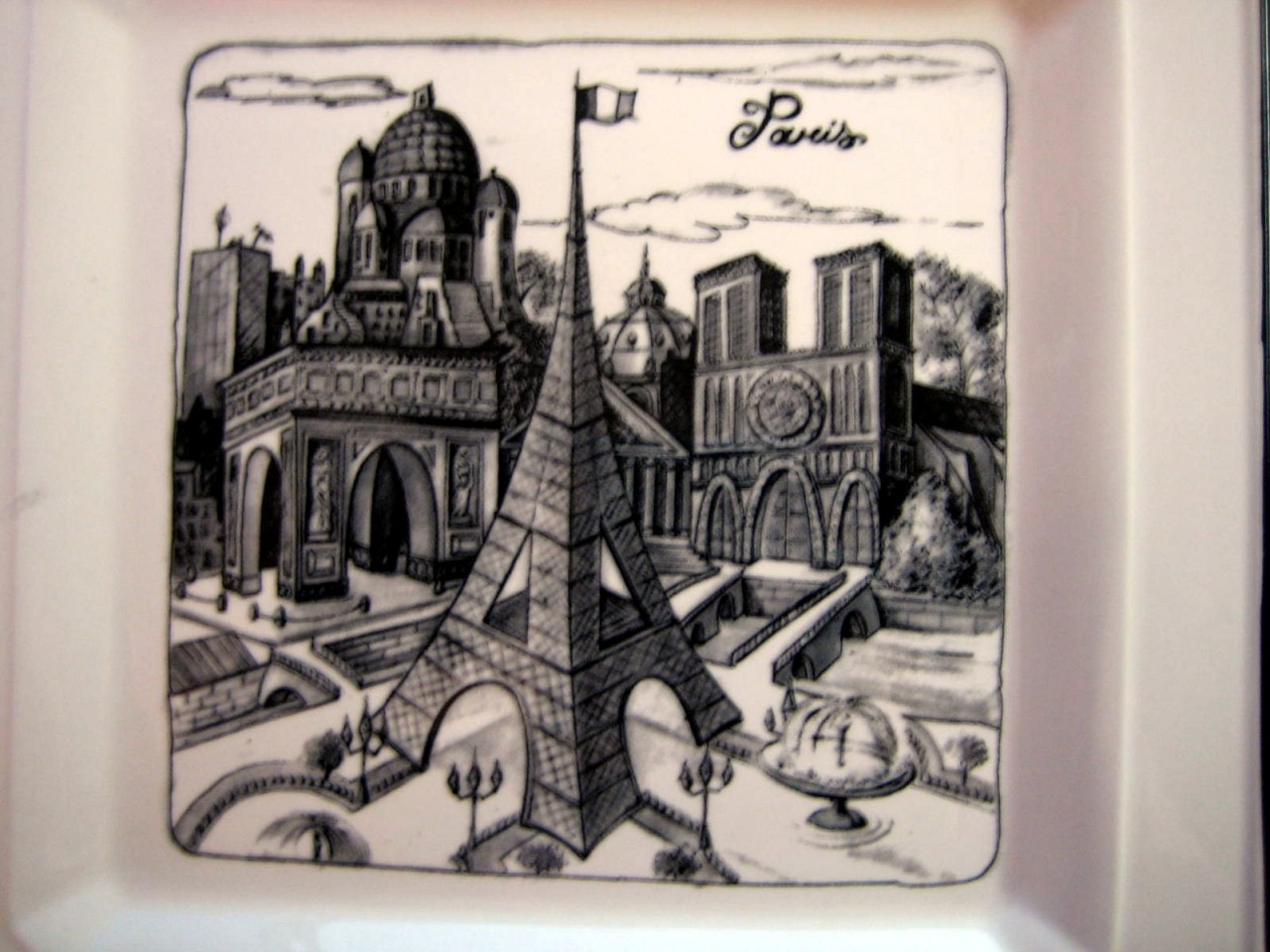 Illustrated Black Gray White Eiffel Tower Arch Paris Square Plate Center www.DecorativeDishes.net