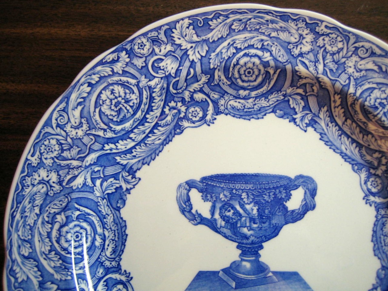 Blue Toile Transferware Grecian Loving Cup Scroll Edge Large Plate Edge www.DecorativeDishes.net