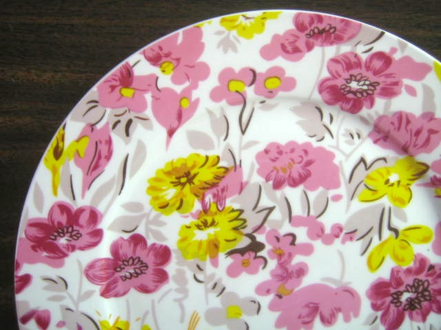 Pink Yellow Taupe Flower Power Retro Chintz Porcelain Plate Edge www.DecorativeDishes.net