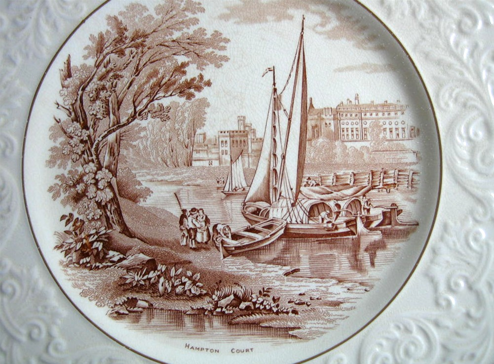 OLD Brown Toile Transferware River Boat Raised Scroll Gold Edge Plate Charger Center www.DecorativeDishes.net