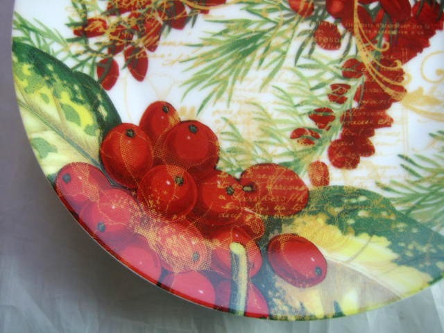Rich Deep Red Berries Green Pine Needles Gold Script Botanical Plate Edge www.DecorativeDishes.net