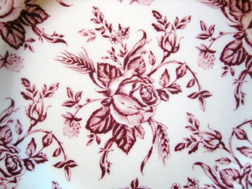 Deep Pink Maroon Rose Chintz Pewter Edge Plate Center www.DecorativeDishes.net