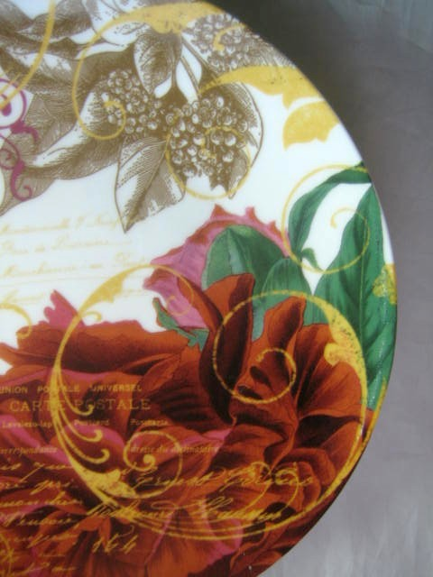 Rust Red Berries Green Tan Leaves Gold Script Botanical Plate Edge www.DecorativeDishes.net