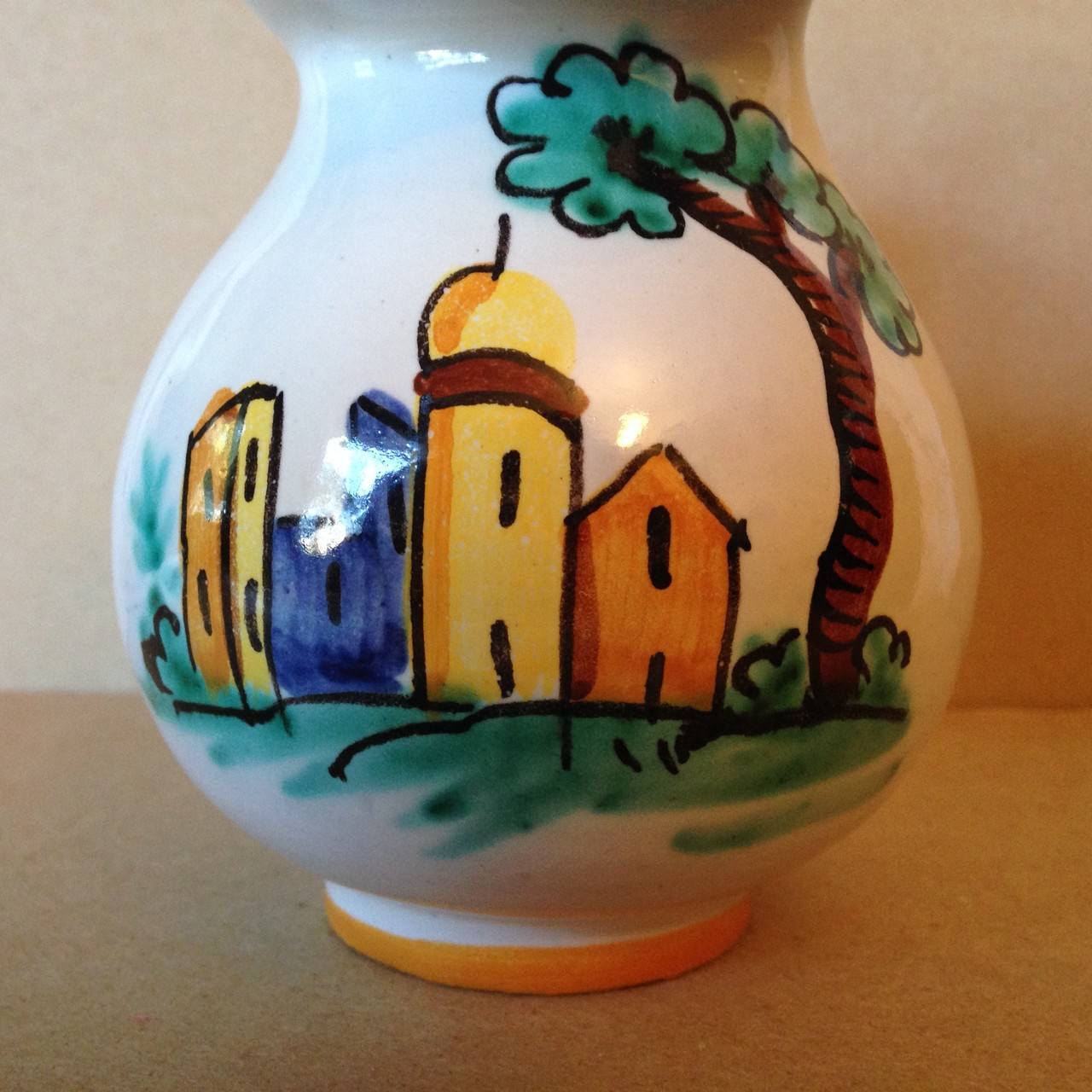 Hand Painted in Italy Warm Italian Village Small Pitcher Edge www.DecorativeDishes.net