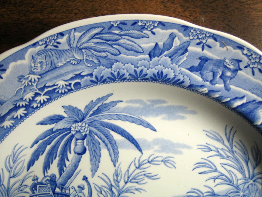 Blue White Transferware Exotic Jungle Elephant Palm Plate Edge www.DecorativeDishes.net