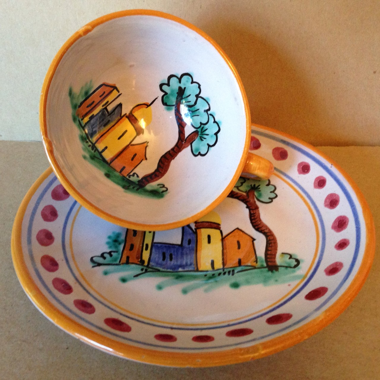 Hand Painted in Italy Warm Italian Village Cup & Saucer Dots Center www.DecorativeDishes.net