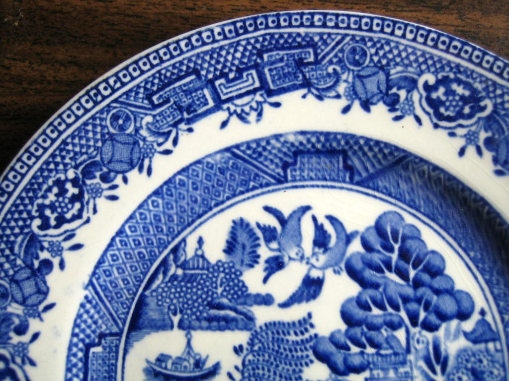 OLD Flow Blue White Chinoiserie Exotic Birds English Plate S Edge www.DecorativeDishes.net