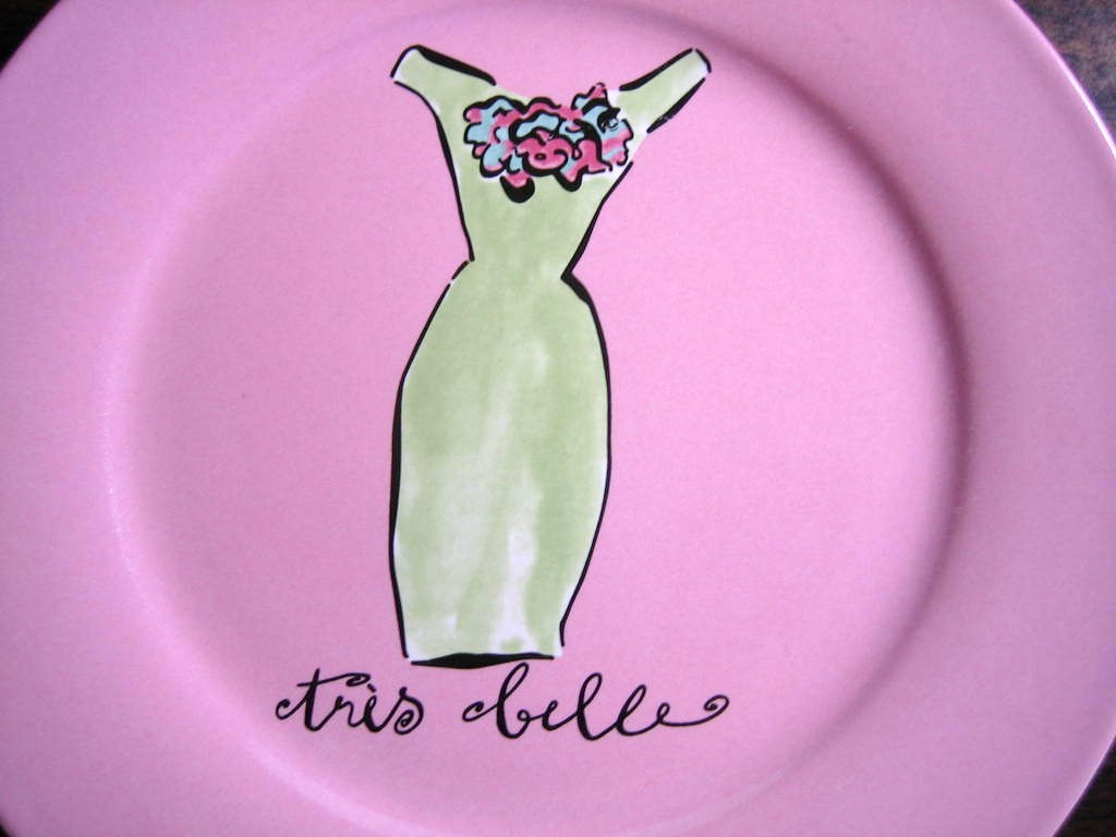 Vintage Green Sheath Dress Pink Fashion Plate Tres Belle Rosanna Center www.DecorativeDishes.net