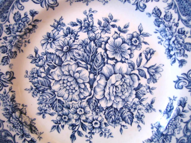 Blue White Toile Transferware Rose Vintage Plate L Center www.DecorativeDishes.net