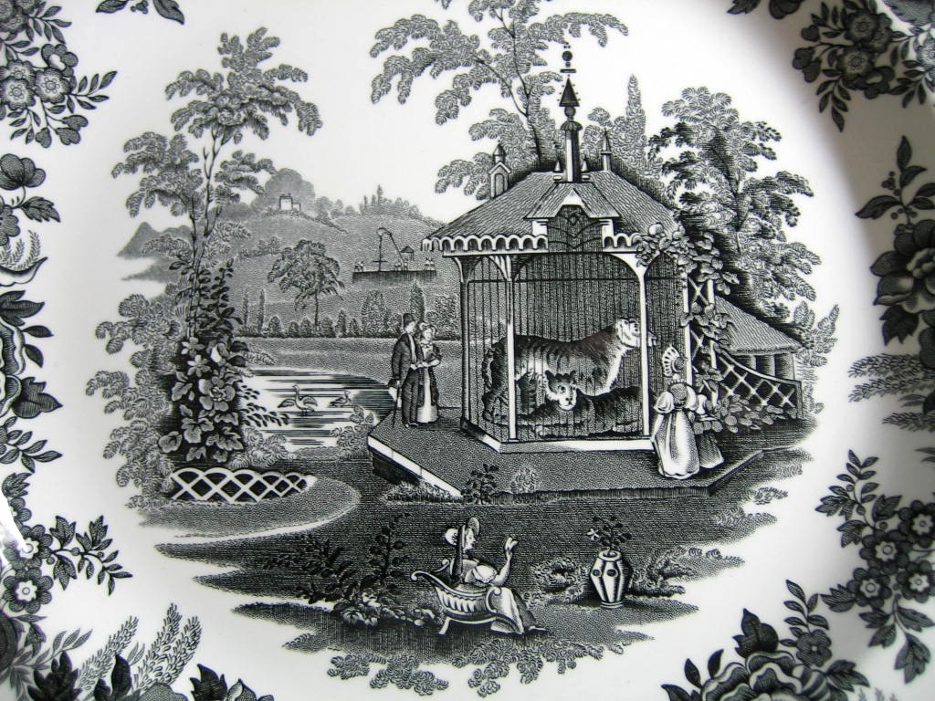 Black White Transferware Toile Victorian Zoo Tiger Plate  Center www.DecorativeDishes.net