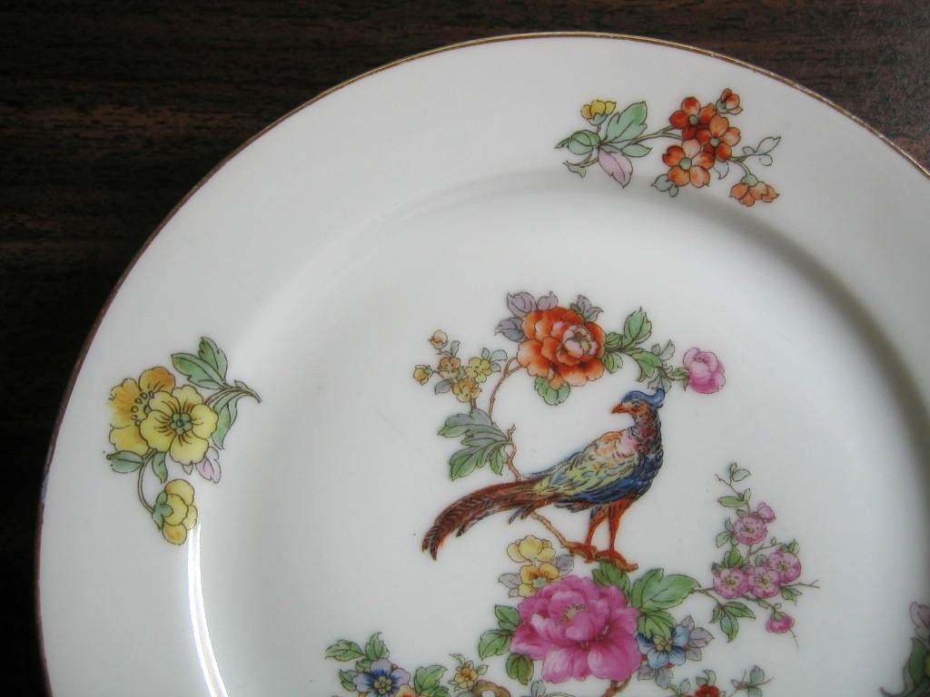 Vintage European Chinoiserie Exotic Bird Roses Small Decorative Plate Edge www.DecorativeDishes.net