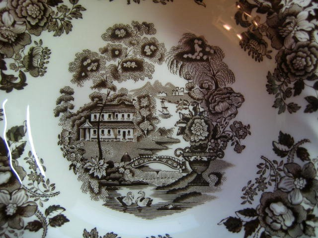 Brown Taupe Toile 3-D Chinoiserie Swan Roses Flat Bowl Center www.DecorativeDishes.net