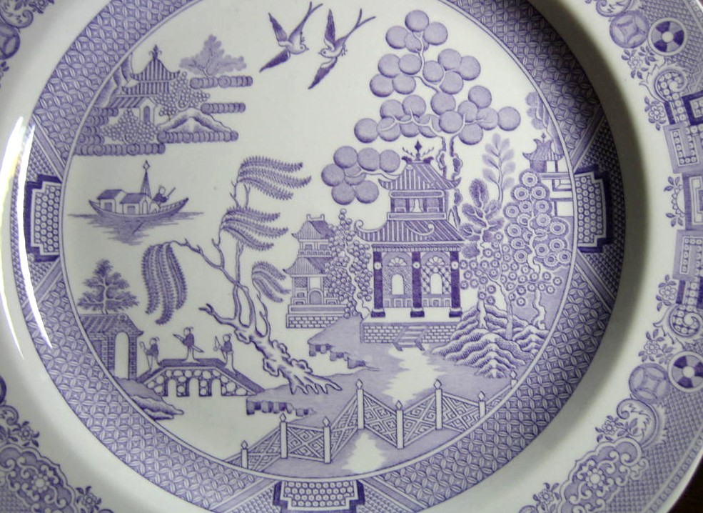 Lavender Purple Chinoiserie Exotic Bird Willow Plate Center www.DecorativeDishes.net