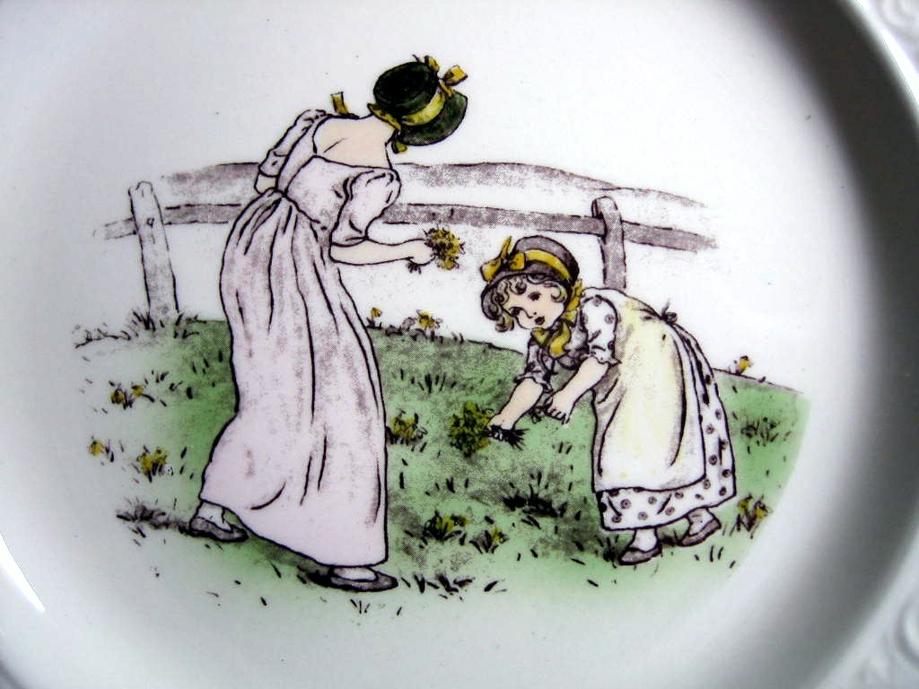 Vintage USA Flower Girls Kate Greenaway Square Scroll Edge Plate Center www.DecorativeDishes.net
